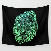 zentangle Wall Tapestries featuring Zentangle by Riaora Creations