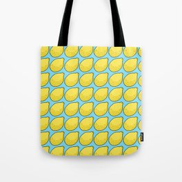 Lemons on Bright Blue Tote Bag