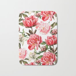 Peonies and Lilies - flower pattern no 1 Bath Mat