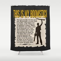 evil dead Shower Curtains featuring Evil Dead  |  Army of Darkness / Full Metal Jacket Mashup  | This Is My Boomstick by Silvio Ledbetter