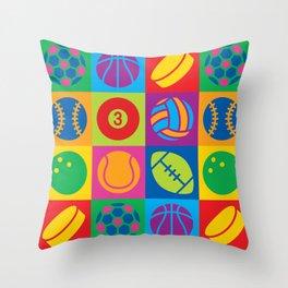 Pop Art Sports Balls Throw Pillow