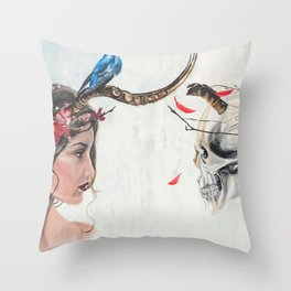 Beauty and mortality Throw Pillow