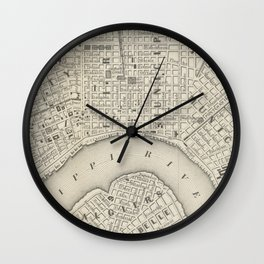 Vintage Map of New Orleans LA (1866) Wall Clock