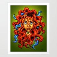 Tentacle Hair Lady- red Art Print