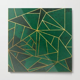 Emerald Green Geometric Gold Lines Metal Print