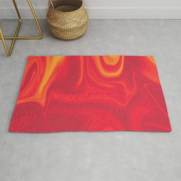 Red and Yellow Liquid Marble Swirling Pattern Texture Artwork #5 Rug