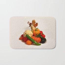 Corn husk doll and vegetarian food Bath Mat