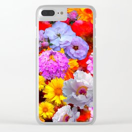 PINK-YELLOW-WHITE FLOWERS ON RED Clear iPhone Case