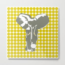 Golden Poppy Safari Dot with Pop Art Elephant Metal Print