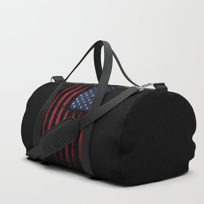 United states flag Black ink Duffle Bag