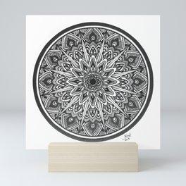 Mandala Art Print, Black White Wall Art, Geometric Design, Circular Floral Artwork Mini Art Print