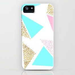 Gold, Pink, and Aqua Triangle Pattern iPhone Case