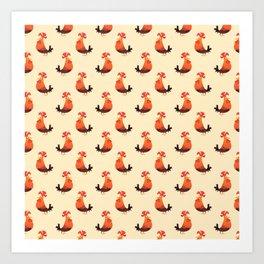 Roosters Pattern Art Print