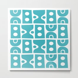 Mid Century Modern Abstract Composition 618 Turquoise Metal Print
