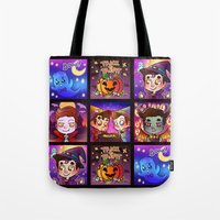 klaine Tote Bags featuring Trick or treat. by Sunshunes