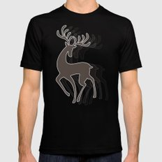 Dancing Deer - Black & White MEDIUM Black Mens Fitted Tee