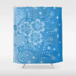 Abstract blue flowers with background Shower Curtain