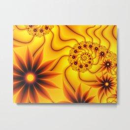 Luminous Fantasy Flowers Fractal Metal Print