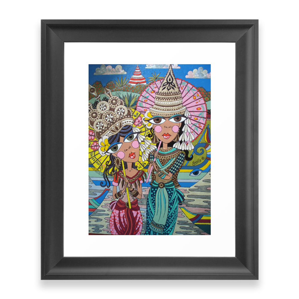 Two Girls With Parasols Framed Art Print by gwolly (FRM1024723) photo