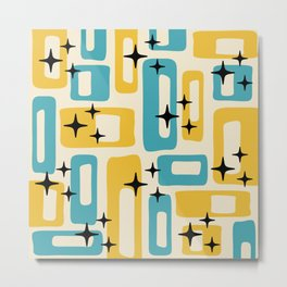 Retro Mid Century Modern Abstract Pattern 224 Blue and Yellow Metal Print