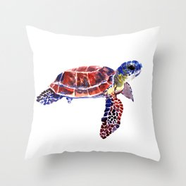 Sea Turtle Children Illustration, kids wall art Throw Pillow