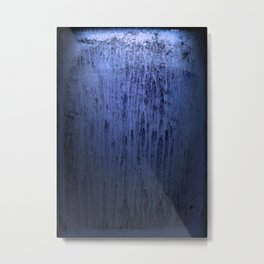 Old blue window at night Metal Print
