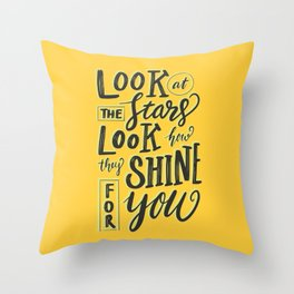 Look at the stars - Yellow Throw Pillow