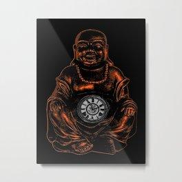 Belly Clock Buddha Metal Print