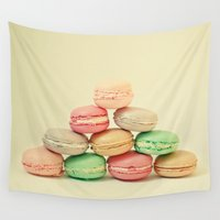 french Wall Tapestries featuring French Macarons by Cassia Beck
