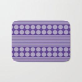 Purple and White Horizontal Stripes and Circles - Purple Series Bath Mat