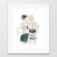 haikyuu Framed Art Prints featuring KuroTsuki Haikyuu!! by Pruoviare