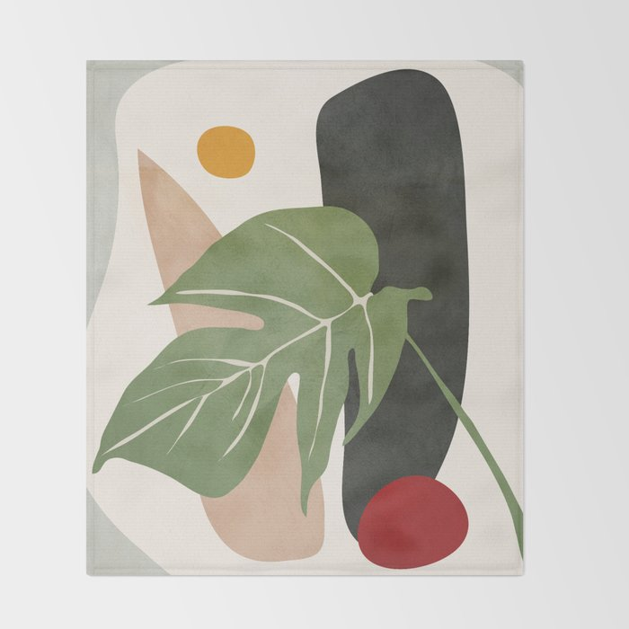 Abstract Monstera Leaf Throw Blanket