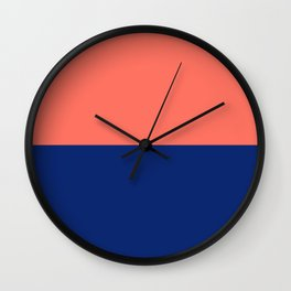 Living Coral and Cobalt Navy Stripe Wall Clock