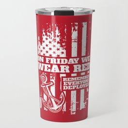 On Fridays We Wear Red Navy Family Travel Mug