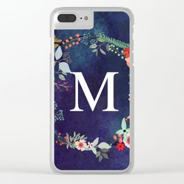 Personalized Monogram Initial Letter M Floral Wreath Artwork Clear iPhone Case