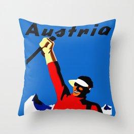 Vintage Austria Snow Skiing Travel Throw Pillow