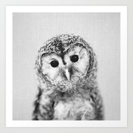 Baby Owl - Black & White Art Print