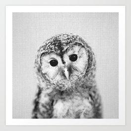 Baby Owl - Black & White Art Print