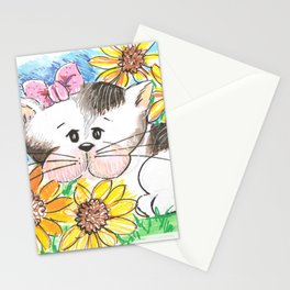 Marisol y los girasoles, the cat and the Sunflowers Stationery Cards