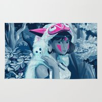 princess mononoke Area & Throw Rugs featuring Princess Mononoke by hollarity