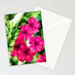 green banana palm leaves and pink flowers Stationery Cards