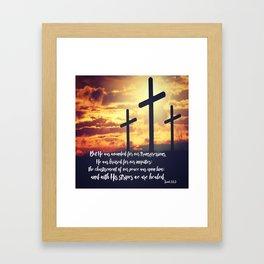 With His Stripes We are Healed KJV Verse Framed Art Print