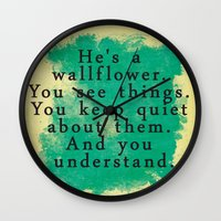 the perks of being a wallflower Wall Clocks featuring Wallflower by green.lime