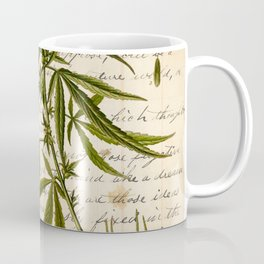 Marijuana Cannabis Botanical on Antique Journal Page Coffee Mug