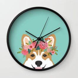 Corgi Portrait - dog with flower crown cute corgi dog art print Wall Clock
