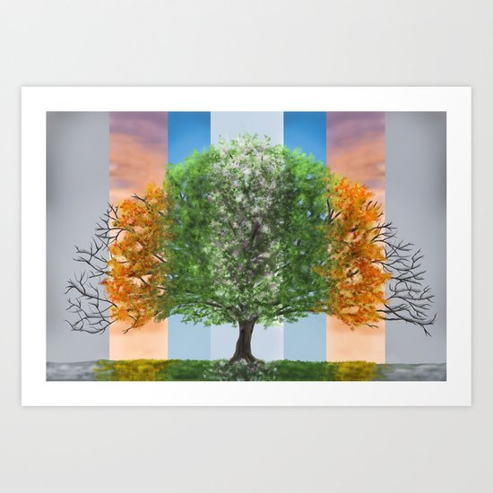 The seasons of the year in a tree Art Print