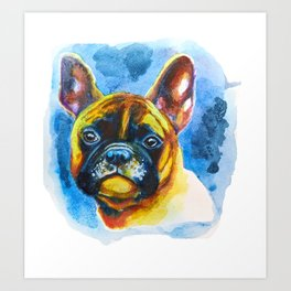Watercolor French Bulldog Colorful Rainbow Pet Portrait Art Print