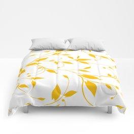 FLOWERY VINES | white yellow Comforters