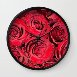 Velvety Red Rose Bouquet Wall Clock