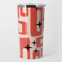 Retro Mid Century Modern Abstract Pattern 577 Red Black Travel Mug